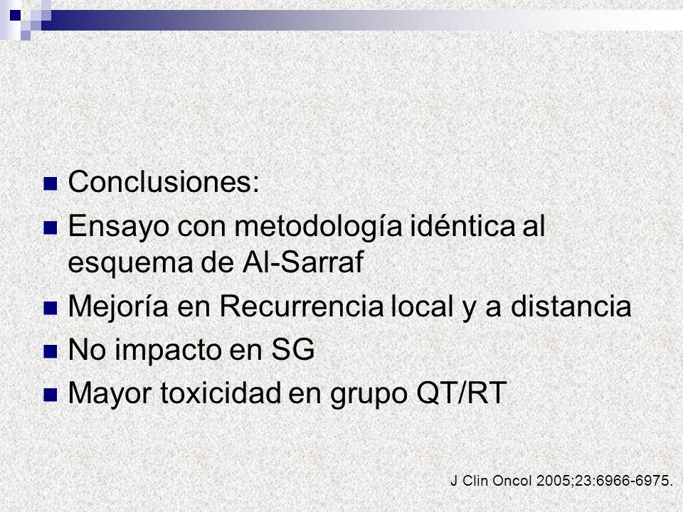 J Clin Oncol 2005;23:6966-6975. Conclusiones: Ensayo con metodología idéntica al esquema de Al-Sarraf Mejoría en Recurrencia local y a distancia No im