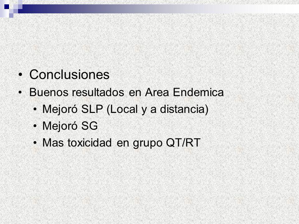 Conclusiones Buenos resultados en Area Endemica Mejoró SLP (Local y a distancia) Mejoró SG Mas toxicidad en grupo QT/RT