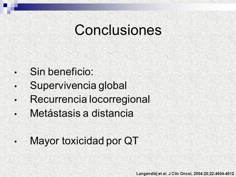 Sin beneficio: Supervivencia global Recurrencia locorregional Metástasis a distancia Mayor toxicidad por QT Conclusiones