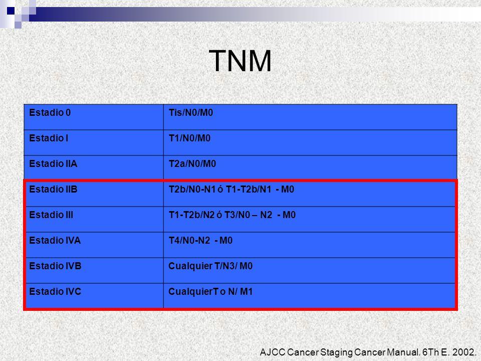 TNM Estadio 0Tis/N0/M0 Estadio IT1/N0/M0 Estadio IIAT2a/N0/M0 Estadio IIBT2b/N0-N1 ó T1-T2b/N1 - M0 Estadio IIIT1-T2b/N2 ó T3/N0 – N2 - M0 Estadio IVA