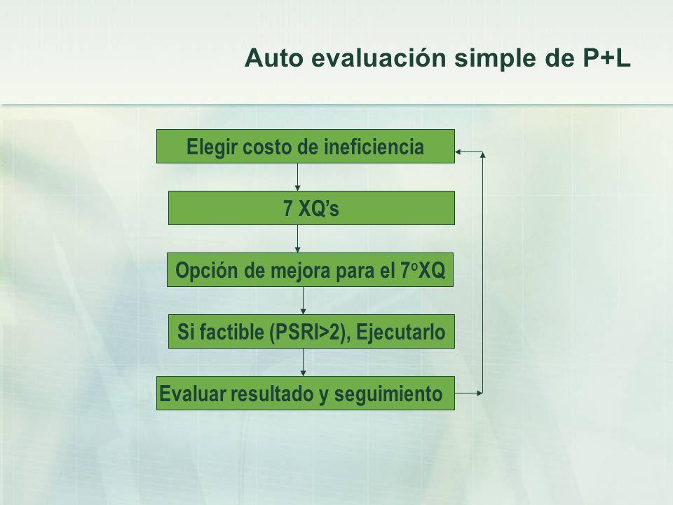 Auto evaluación simple de P+L Elegir costo de ineficiencia 7 XQs Evaluar resultado y seguimiento Si factible (PSRI>2), Ejecutarlo Opción de mejora par