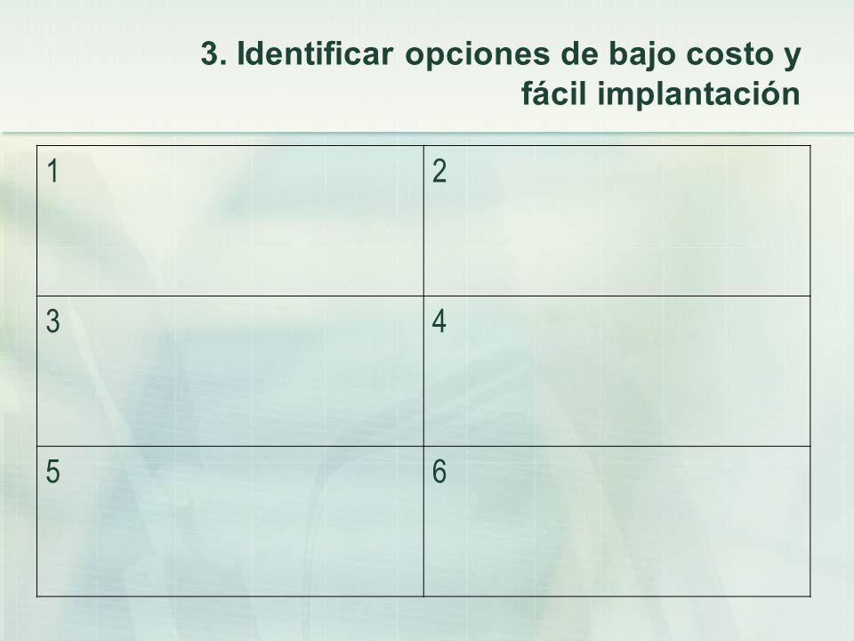 3. Identificar opciones de bajo costo y fácil implantación 12 34 56