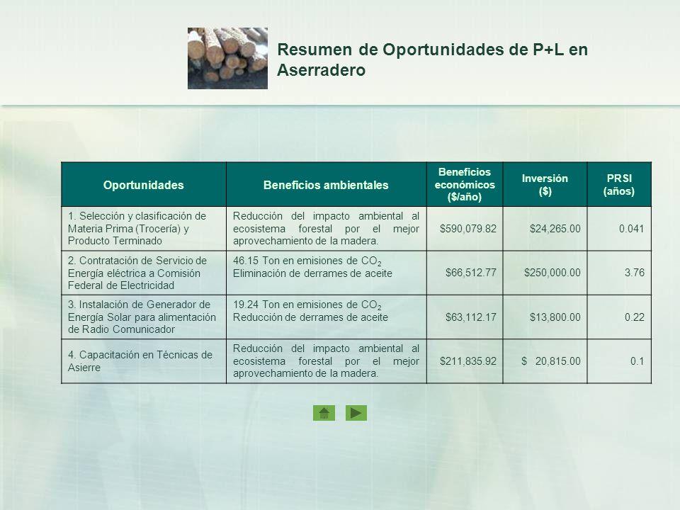 OportunidadesBeneficios ambientales Beneficios económicos ($/año) Inversión ($) PRSI (años) 1. Selección y clasificación de Materia Prima (Trocería) y