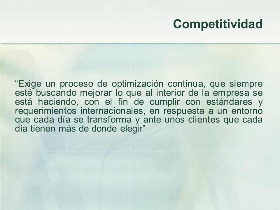 Competitividad Exige un proceso de optimización continua, que siempre esté buscando mejorar lo que al interior de la empresa se está haciendo, con el