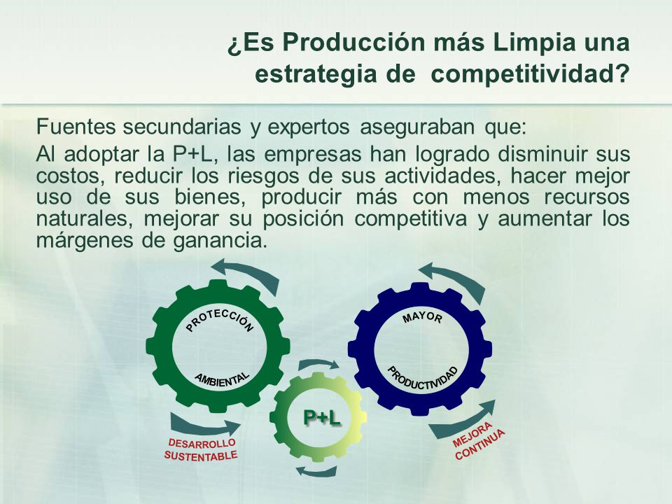 ¿Es Producción más Limpia una estrategia de competitividad? Fuentes secundarias y expertos aseguraban que: Al adoptar la P+L, las empresas han logrado