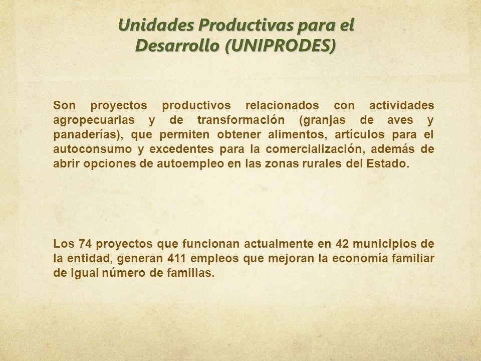 Unidades Productivas para el Desarrollo (UNIPRODES) Son proyectos productivos relacionados con actividades agropecuarias y de transformación (granjas
