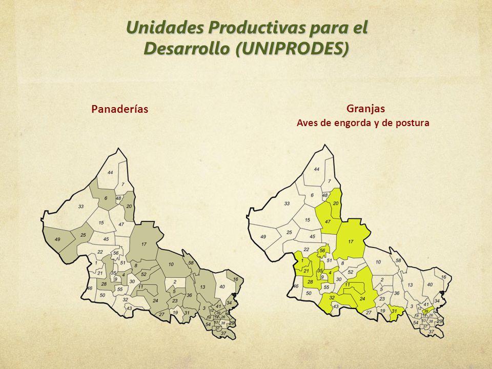 Unidades Productivas para el Desarrollo (UNIPRODES) Panaderías Granjas Aves de engorda y de postura