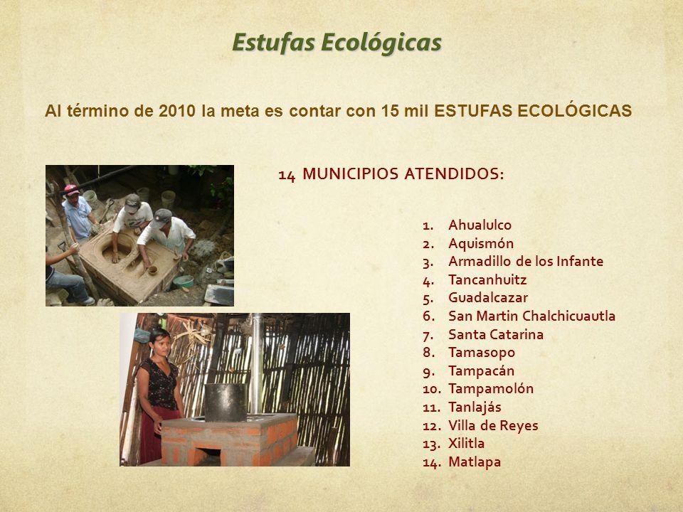 Estufas Ecológicas Al término de 2010 la meta es contar con 15 mil ESTUFAS ECOLÓGICAS 14 MUNICIPIOS ATENDIDOS: 1.Ahualulco 2.Aquismón 3.Armadillo de l