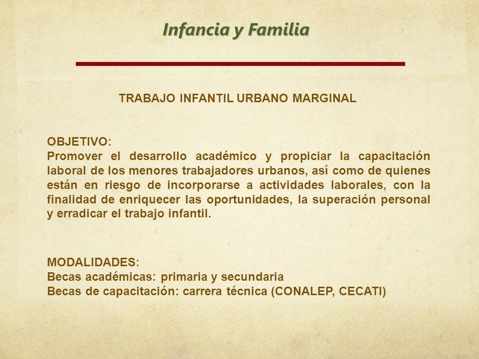 Infancia y Familia TRABAJO INFANTIL URBANO MARGINAL OBJETIVO: Promover el desarrollo académico y propiciar la capacitación laboral de los menores trab
