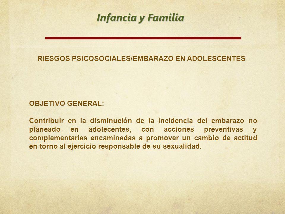 Infancia y Familia RIESGOS PSICOSOCIALES/EMBARAZO EN ADOLESCENTES OBJETIVO GENERAL: Contribuir en la disminución de la incidencia del embarazo no plan
