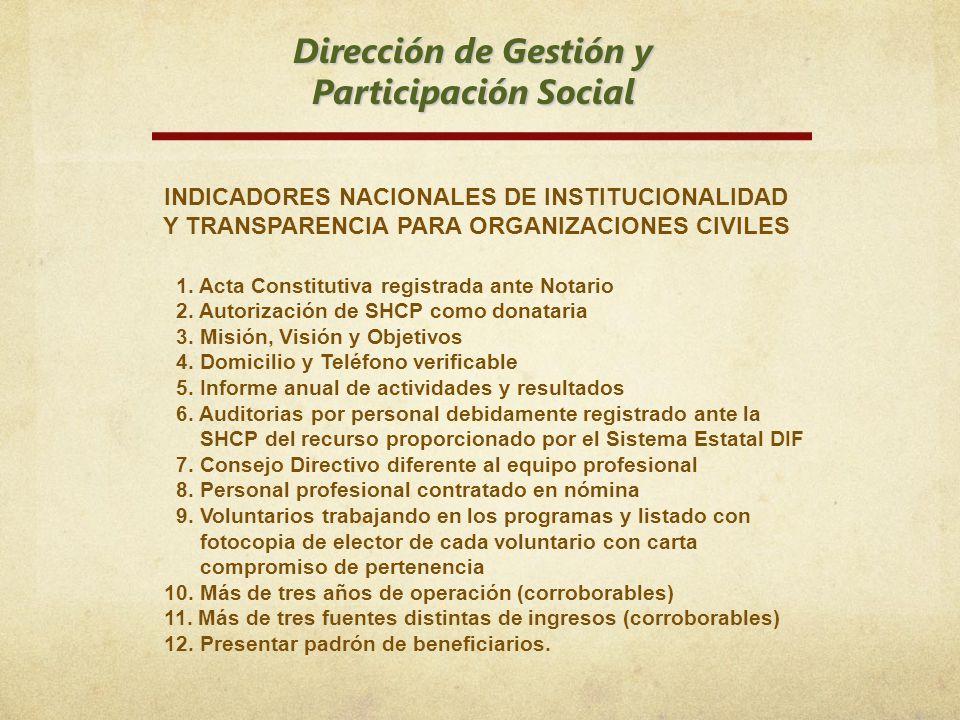 Dirección de Gestión y Participación Social 1. Acta Constitutiva registrada ante Notario 2. Autorización de SHCP como donataria 3. Misión, Visión y Ob