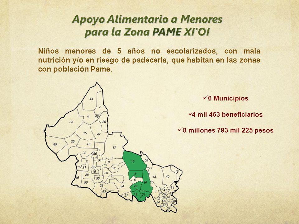 Apoyo Alimentario a Menores para la Zona PAME XI'OI 6 Municipios 4 mil 463 beneficiarios 8 millones 793 mil 225 pesos Niños menores de 5 años no escol