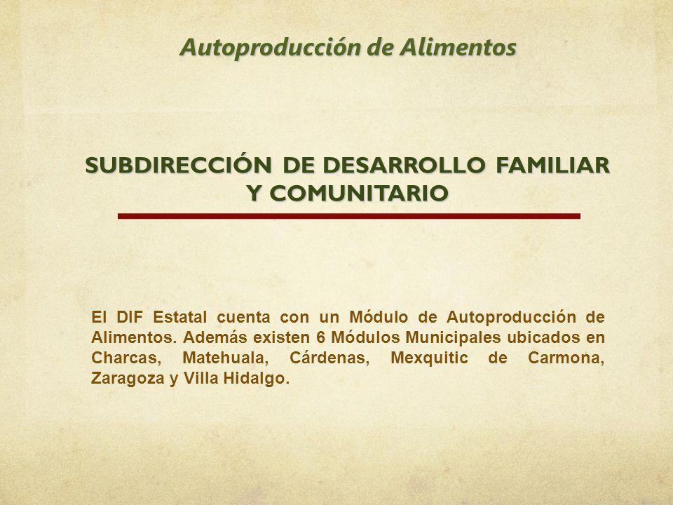 SUBDIRECCIÓN DE DESARROLLO FAMILIAR Y COMUNITARIO Autoproducción de Alimentos El DIF Estatal cuenta con un Módulo de Autoproducción de Alimentos. Adem
