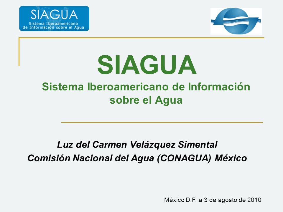 SIAGUA Sistema Iberoamericano de Información sobre el Agua Luz del Carmen Velázquez Simental Comisión Nacional del Agua (CONAGUA) México México D.F.