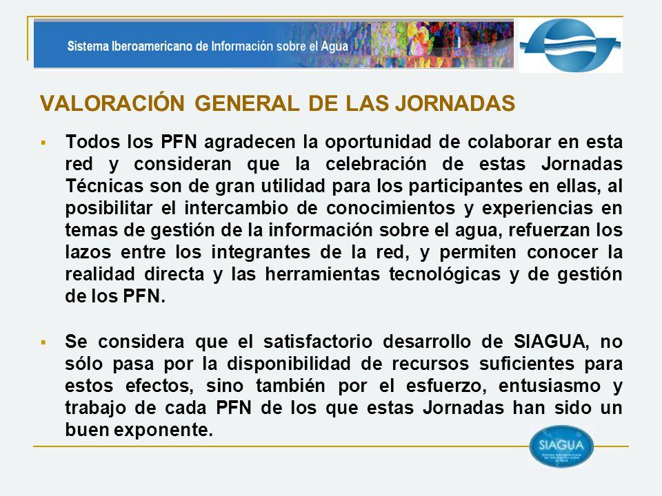 VALORACIÓN GENERAL DE LAS JORNADAS Todos los PFN agradecen la oportunidad de colaborar en esta red y consideran que la celebración de estas Jornadas T