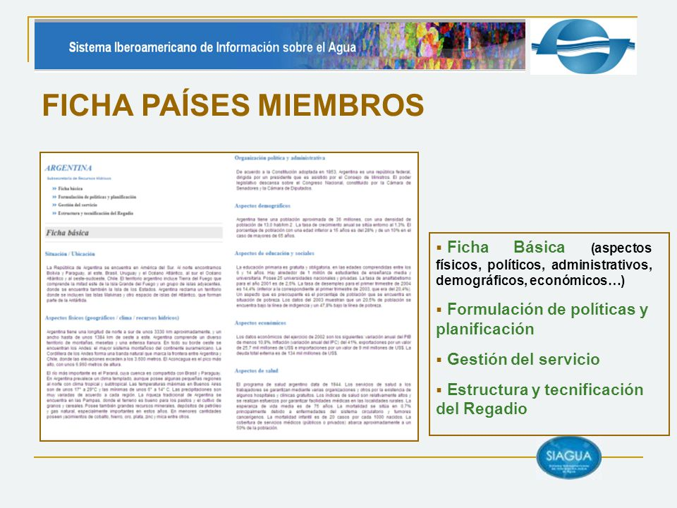 FICHA PAÍSES MIEMBROS Ficha Básica (aspectos físicos, políticos, administrativos, demográficos, económicos…) Formulación de políticas y planificación