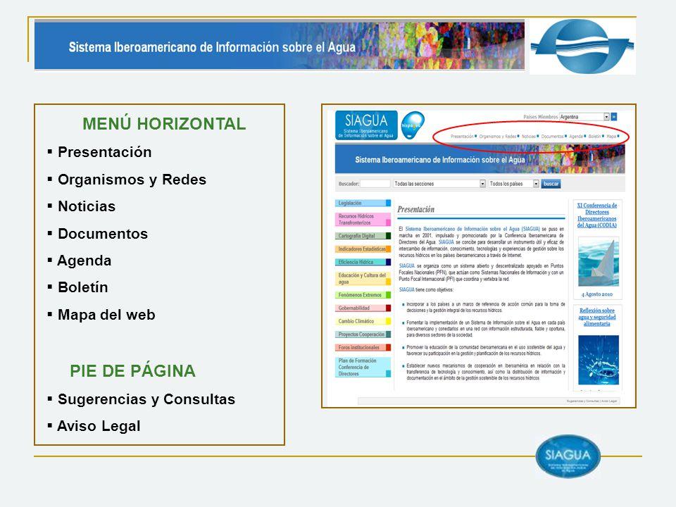 MENÚ HORIZONTAL Presentación Organismos y Redes Noticias Documentos Agenda Boletín Mapa del web PIE DE PÁGINA Sugerencias y Consultas Aviso Legal