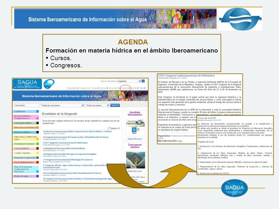 AGENDA Formación en materia hídrica en el ámbito Iberoamericano Cursos. Congresos.