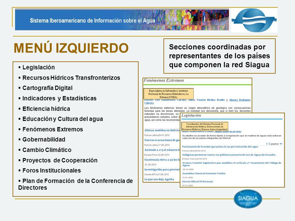 MENÚ IZQUIERDO Legislación Recursos Hídricos Transfronterizos Cartografía Digital Indicadores y Estadísticas Eficiencia hídrica Educación y Cultura de
