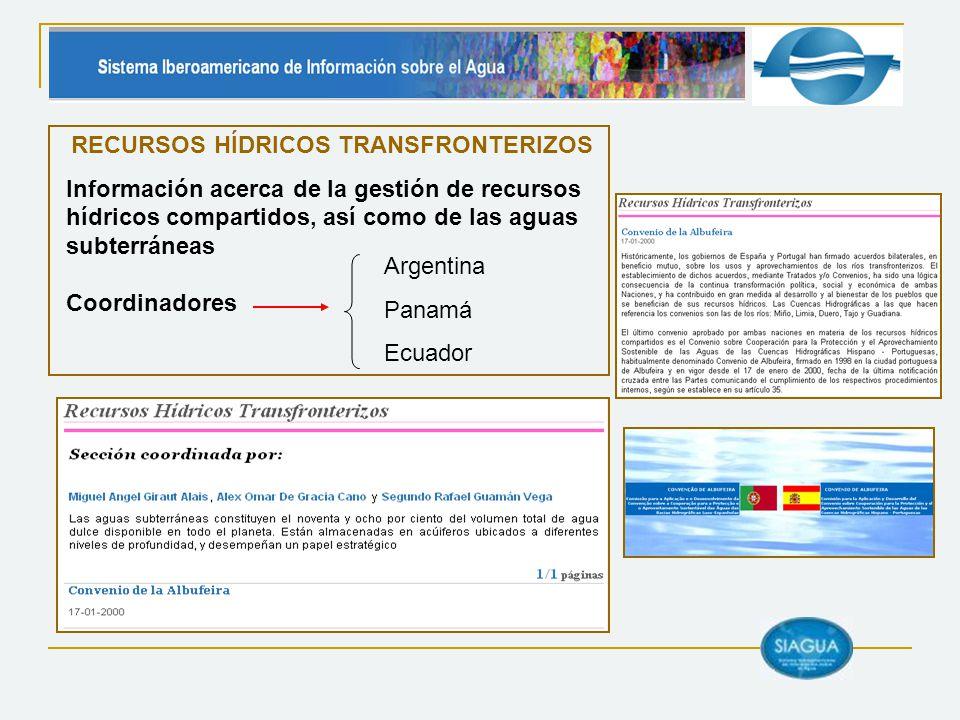 Coordinadores RECURSOS HÍDRICOS TRANSFRONTERIZOS Información acerca de la gestión de recursos hídricos compartidos, así como de las aguas subterráneas Argentina Panamá Ecuador