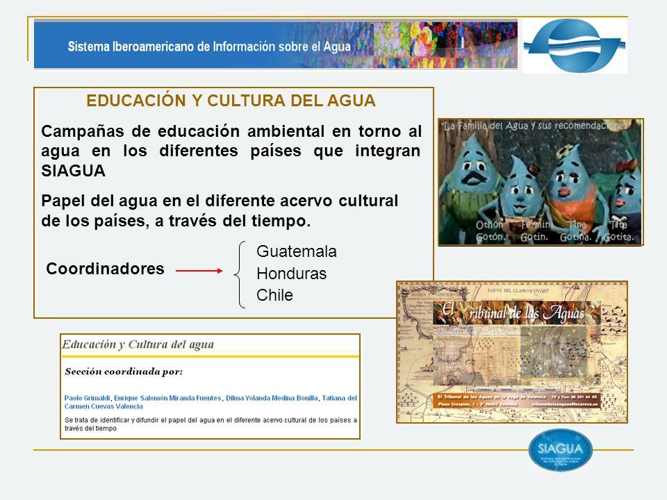Coordinadores EDUCACIÓN Y CULTURA DEL AGUA Campañas de educación ambiental en torno al agua en los diferentes países que integran SIAGUA Papel del agu
