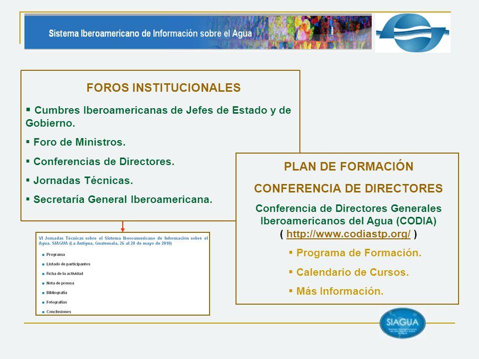 FOROS INSTITUCIONALES Cumbres Iberoamericanas de Jefes de Estado y de Gobierno. Foro de Ministros. Conferencias de Directores. Jornadas Técnicas. Secr