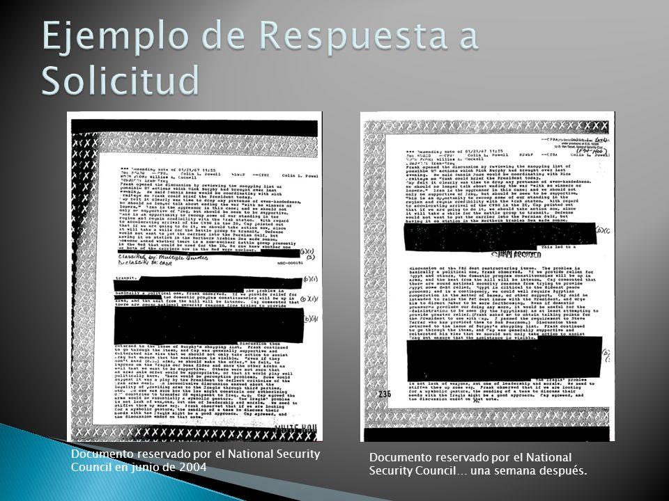 Documento reservado por el National Security Council en junio de 2004 Documento reservado por el National Security Council… una semana después.