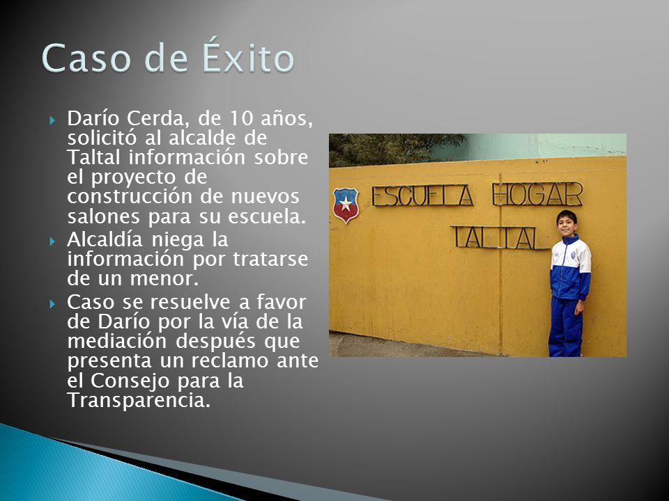 Darío Cerda, de 10 años, solicitó al alcalde de Taltal información sobre el proyecto de construcción de nuevos salones para su escuela.