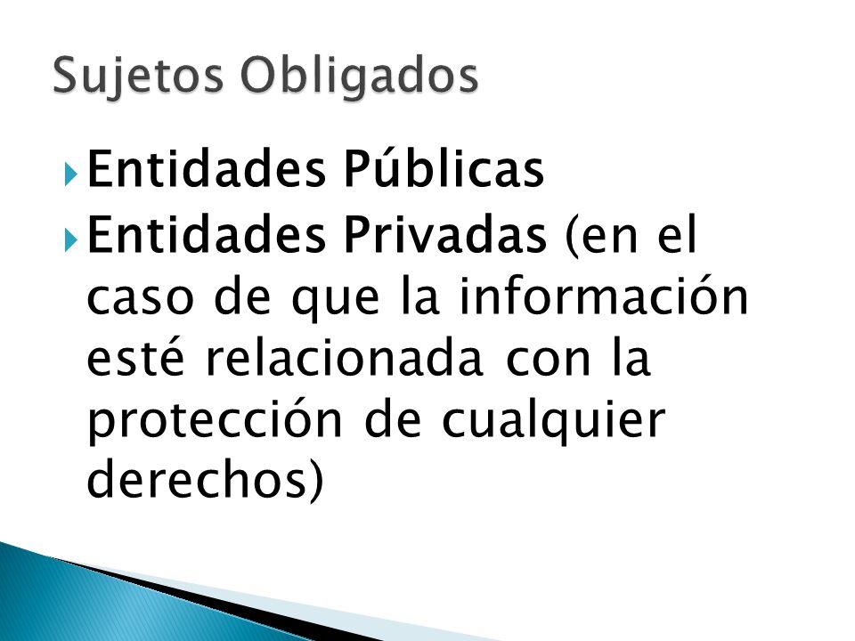 Entidades Públicas Entidades Privadas (en el caso de que la información esté relacionada con la protección de cualquier derechos)