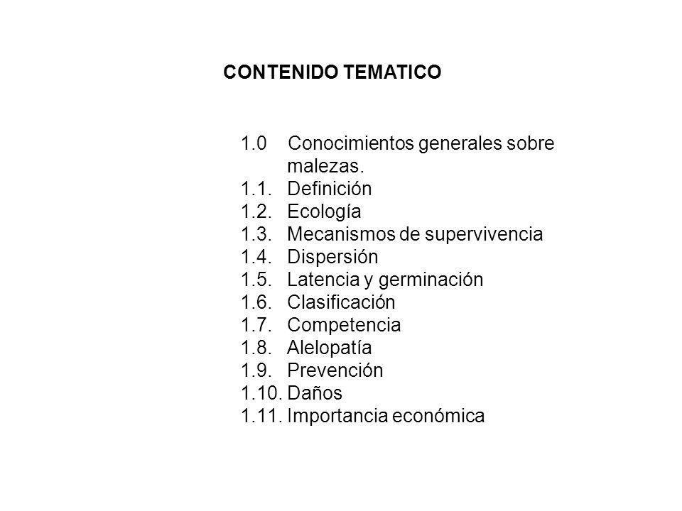 1.0 Conocimientos generales sobre malezas. 1.1. Definición 1.2. Ecología 1.3. Mecanismos de supervivencia 1.4. Dispersión 1.5. Latencia y germinación