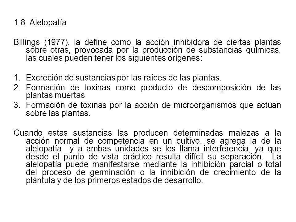 1.8. Alelopatía Billings (1977), la define como la acción inhibidora de ciertas plantas sobre otras, provocada por la producción de substancias químic