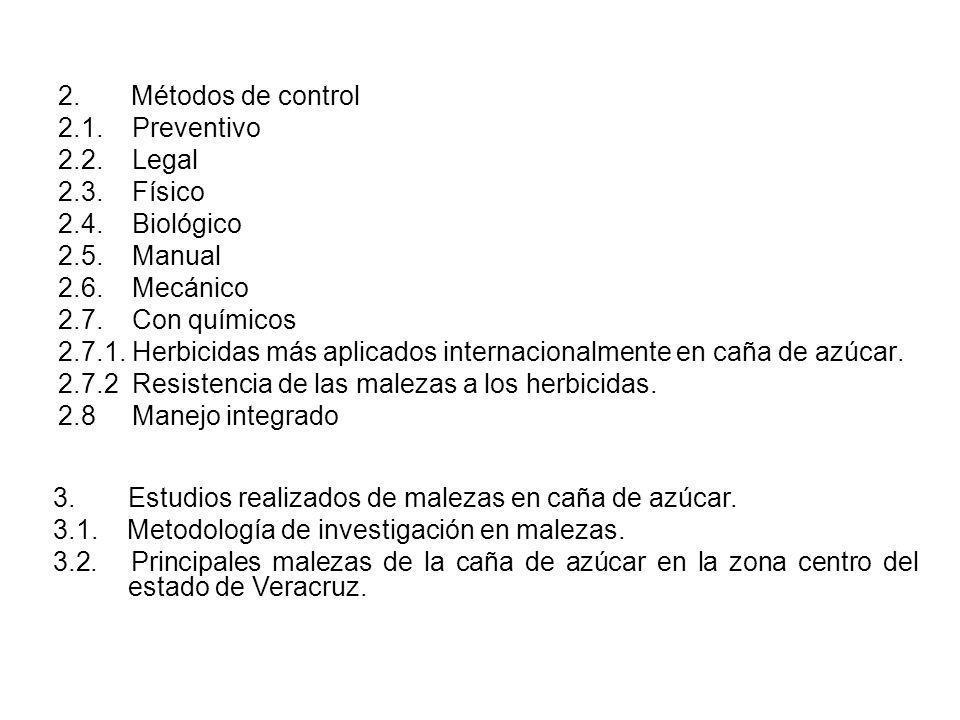 2. Métodos de control 2.1. Preventivo 2.2. Legal 2.3. Físico 2.4. Biológico 2.5. Manual 2.6. Mecánico 2.7. Con químicos 2.7.1. Herbicidas más aplicado