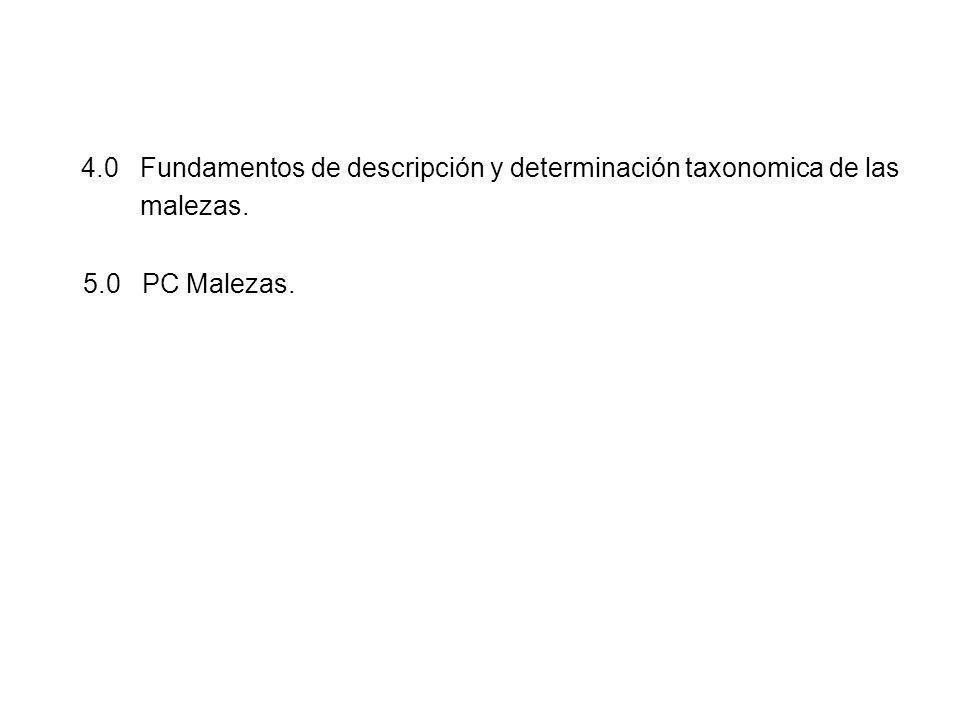 4.0 Fundamentos de descripción y determinación taxonomica de las malezas. 5.0 PC Malezas.