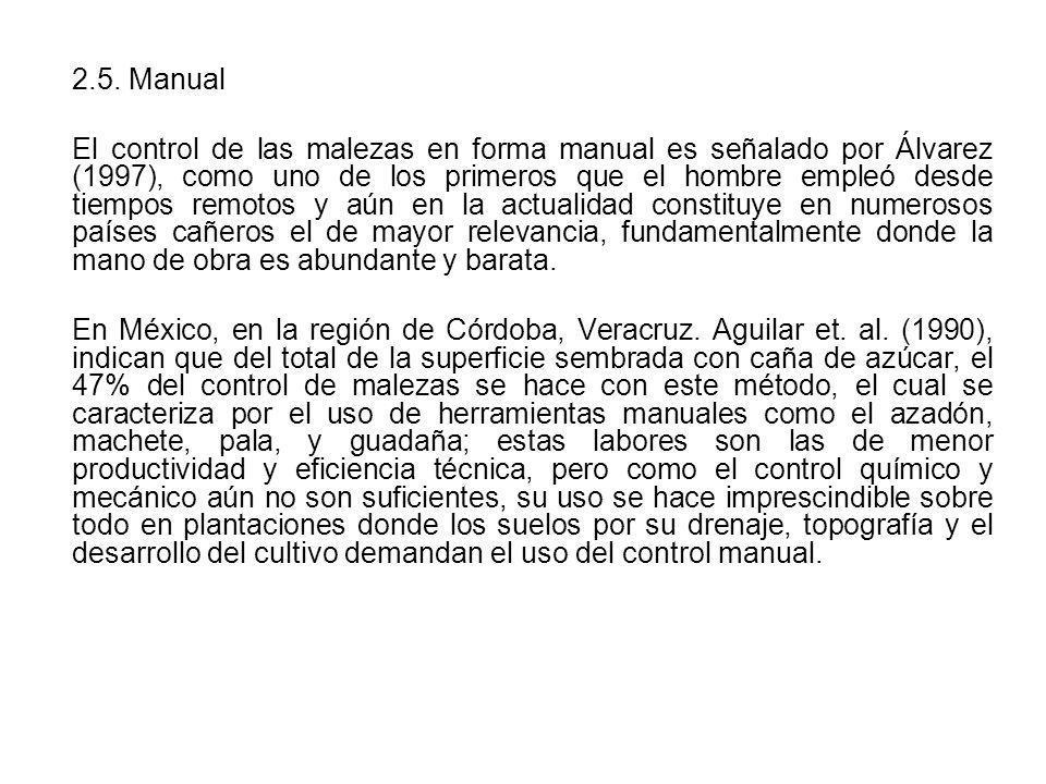 2.5. Manual El control de las malezas en forma manual es señalado por Álvarez (1997), como uno de los primeros que el hombre empleó desde tiempos remo