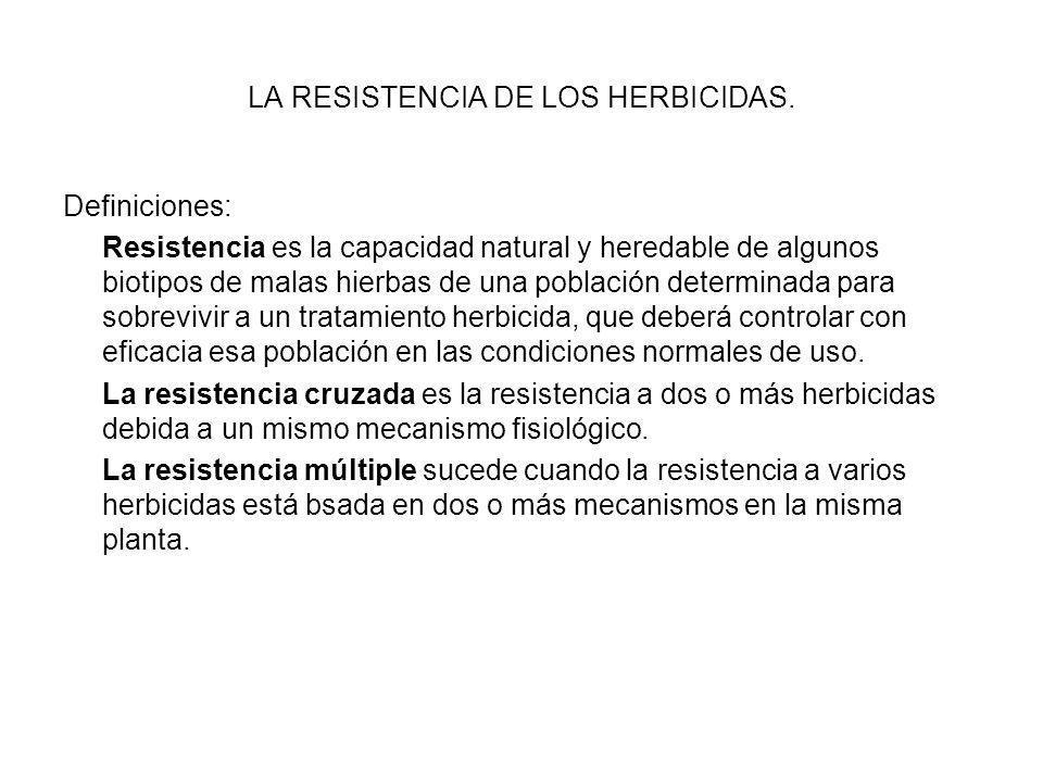 LA RESISTENCIA DE LOS HERBICIDAS. Definiciones: Resistencia es la capacidad natural y heredable de algunos biotipos de malas hierbas de una población