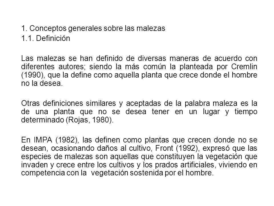 1. Conceptos generales sobre las malezas 1.1. Definición Las malezas se han definido de diversas maneras de acuerdo con diferentes autores; siendo la