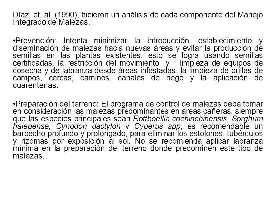 Díaz, et. al. (1990), hicieron un análisis de cada componente del Manejo Integrado de Malezas. Prevención: Intenta minimizar la introducción, establec