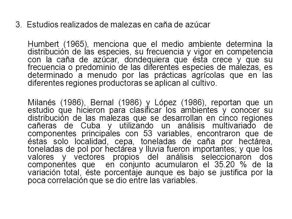 3. Estudios realizados de malezas en caña de azúcar Humbert (1965), menciona que el medio ambiente determina la distribución de las especies, su frecu