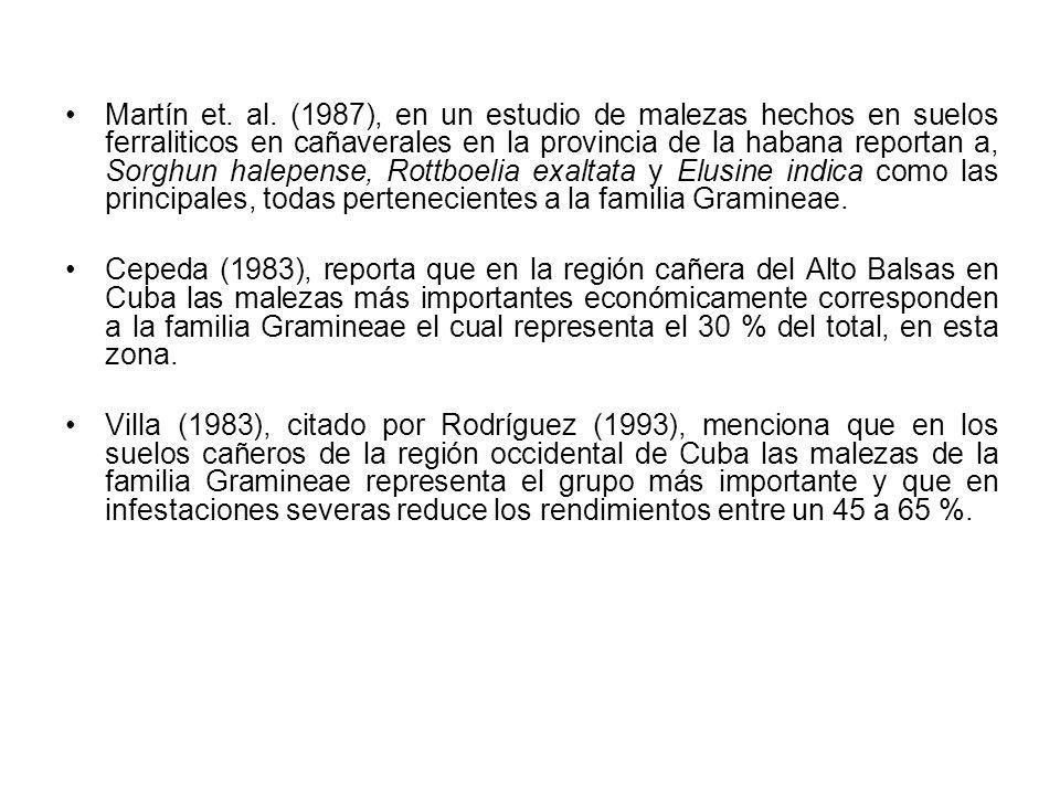 Martín et. al. (1987), en un estudio de malezas hechos en suelos ferraliticos en cañaverales en la provincia de la habana reportan a, Sorghun halepens