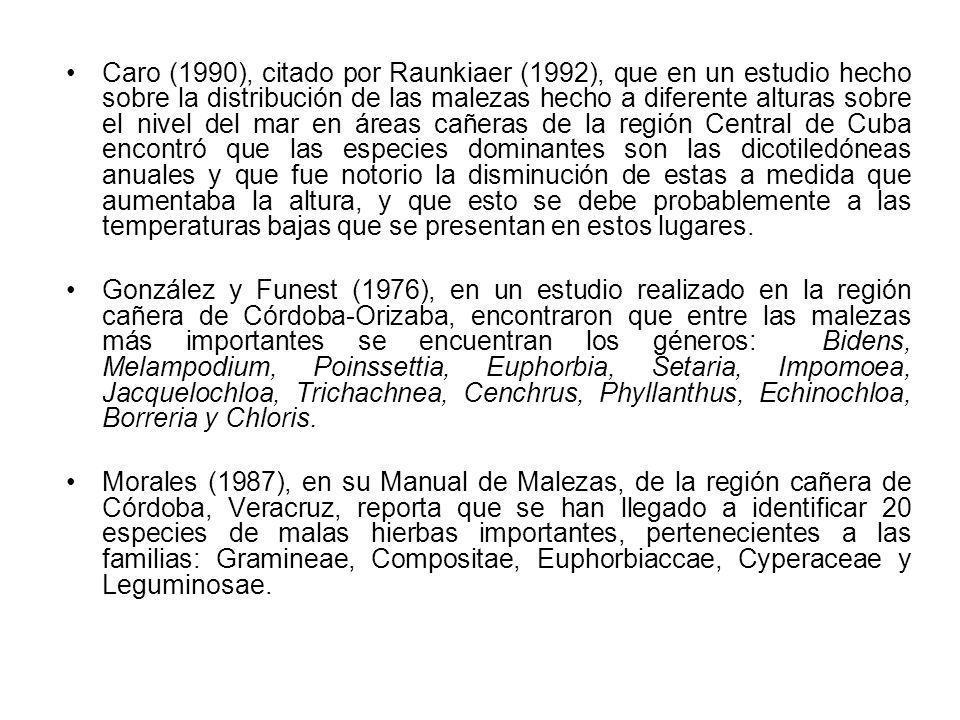 Caro (1990), citado por Raunkiaer (1992), que en un estudio hecho sobre la distribución de las malezas hecho a diferente alturas sobre el nivel del ma