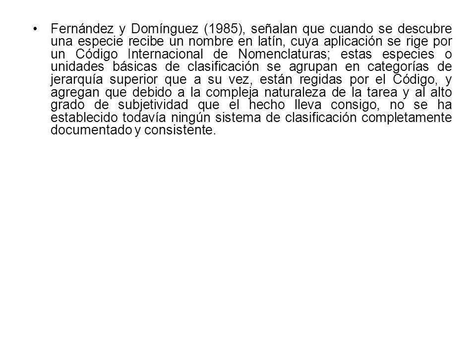 Fernández y Domínguez (1985), señalan que cuando se descubre una especie recibe un nombre en latín, cuya aplicación se rige por un Código Internaciona