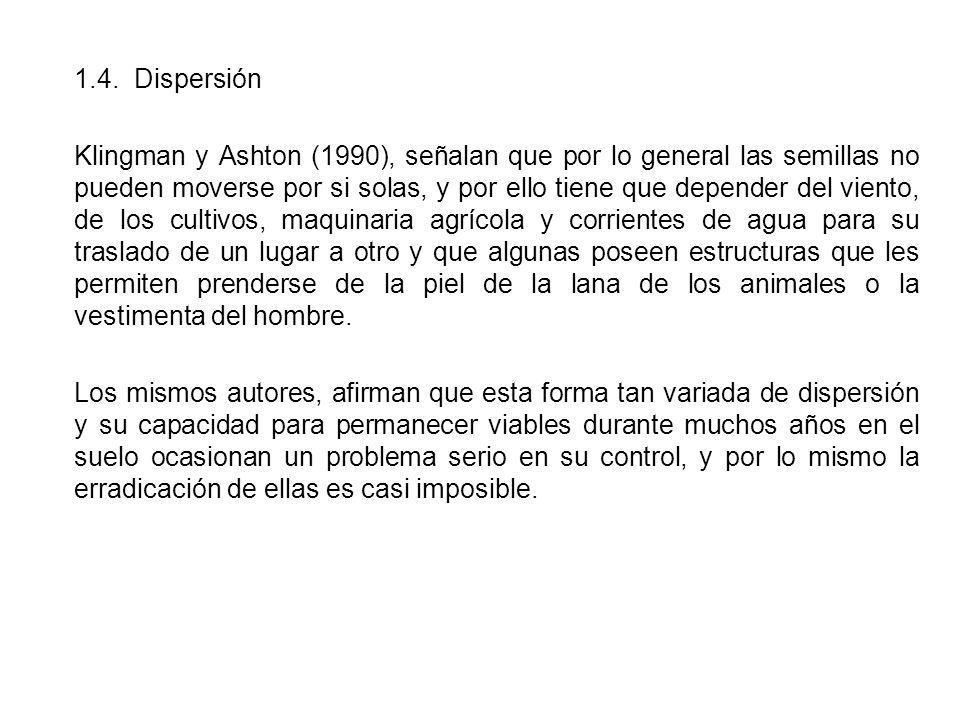 1.4. Dispersión Klingman y Ashton (1990), señalan que por lo general las semillas no pueden moverse por si solas, y por ello tiene que depender del vi