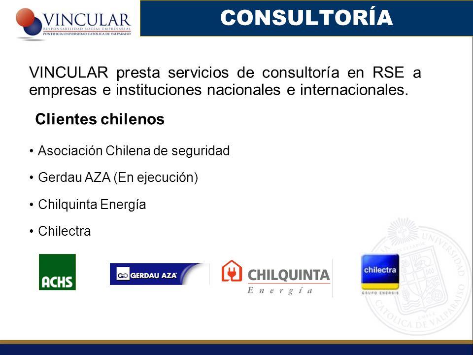 CONSULTORÍA VINCULAR presta servicios de consultoría en RSE a empresas e instituciones nacionales e internacionales. Clientes chilenos Asociación Chil