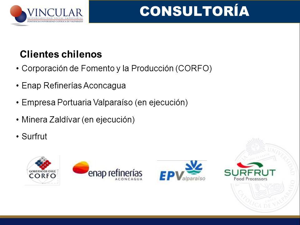 CONSULTORÍA Clientes chilenos Corporación de Fomento y la Producción (CORFO) Enap Refinerías Aconcagua Empresa Portuaria Valparaíso (en ejecución) Min