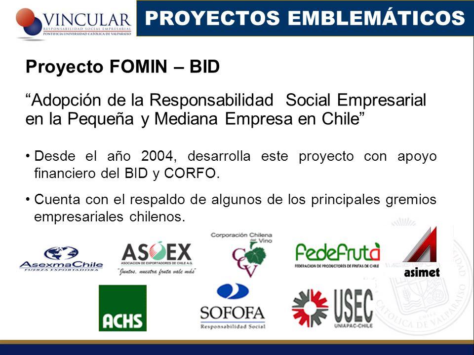 Proyecto FOMIN – BID Adopción de la Responsabilidad Social Empresarial en la Pequeña y Mediana Empresa en Chile Desde el año 2004, desarrolla este pro