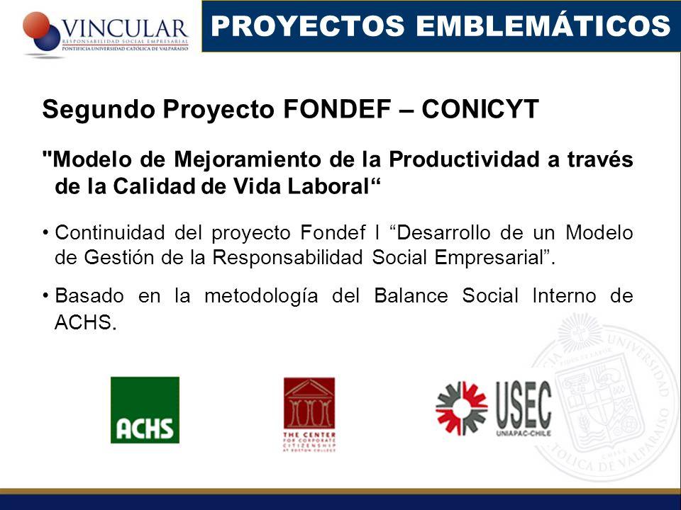 PROYECTOS EMBLEMÁTICOS Segundo Proyecto FONDEF – CONICYT
