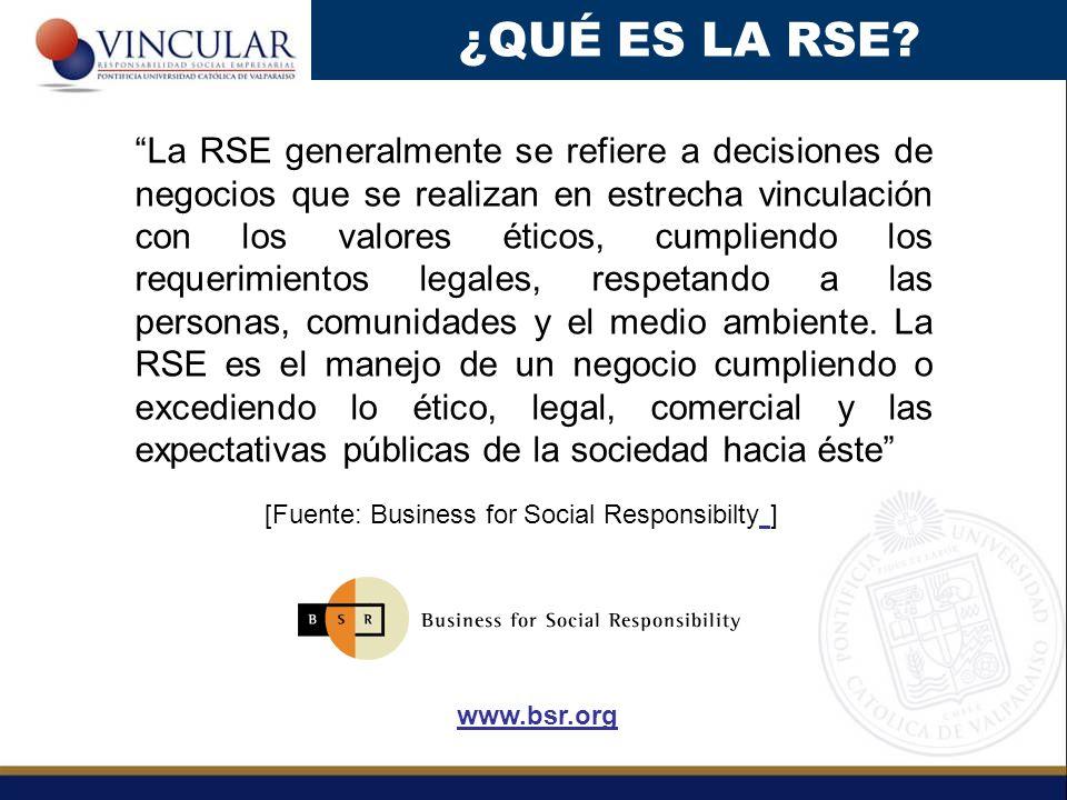 La RSE generalmente se refiere a decisiones de negocios que se realizan en estrecha vinculación con los valores éticos, cumpliendo los requerimientos