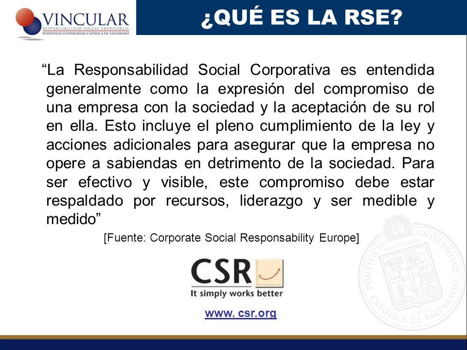 La Responsabilidad Social Corporativa es entendida generalmente como la expresión del compromiso de una empresa con la sociedad y la aceptación de su