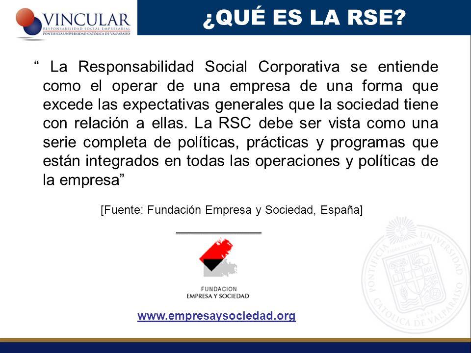 La Responsabilidad Social Corporativa se entiende como el operar de una empresa de una forma que excede las expectativas generales que la sociedad tie