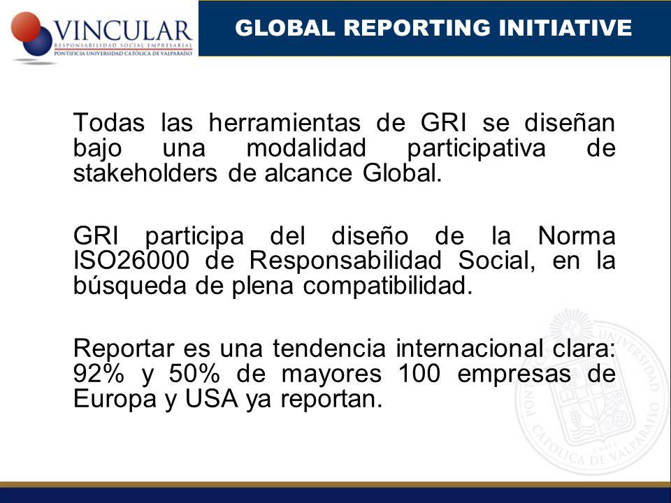 Todas las herramientas de GRI se diseñan bajo una modalidad participativa de stakeholders de alcance Global. GRI participa del diseño de la Norma ISO2